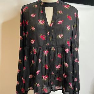 Bongo Top blouse L summer rose print flowers light